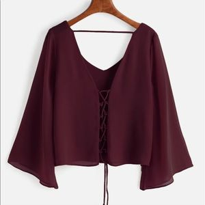 Maroon Red Blouse Lace up back Bell sleeves